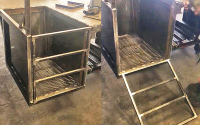 For the Discovery Design service truck, we built a tire caddy that also serves as a ladder to get onto the bed when the gate is up. Multi-tasking innovation!