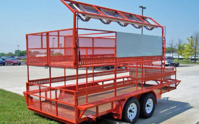 A trailer built to the specific needs of the client, including a hide-a-break that comes down when needed, tucks neatly out of the way when it's not.
